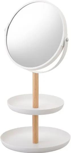 Oglindă cu tăvi de depozitare și detalii din lemn de fag YAMAZAKI Tosca, alb