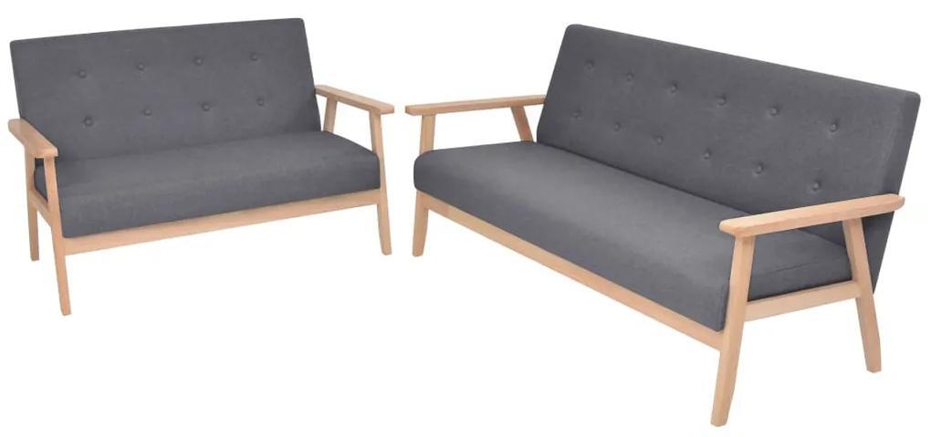 274925 vidaXL Set de canapele, 2 piese, material textil, gri închis
