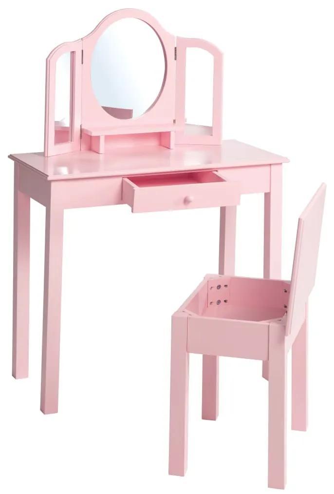 424433 roba Masă toaletă copii, cu taburet, roz, 68x32x106 cm, lemn