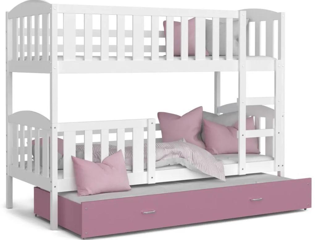 Expedo Pat supraetajat copii cu pat suplimentar KUBA 3 COLOR + saltea + somieră GRATIS, 190x80, alb/roz