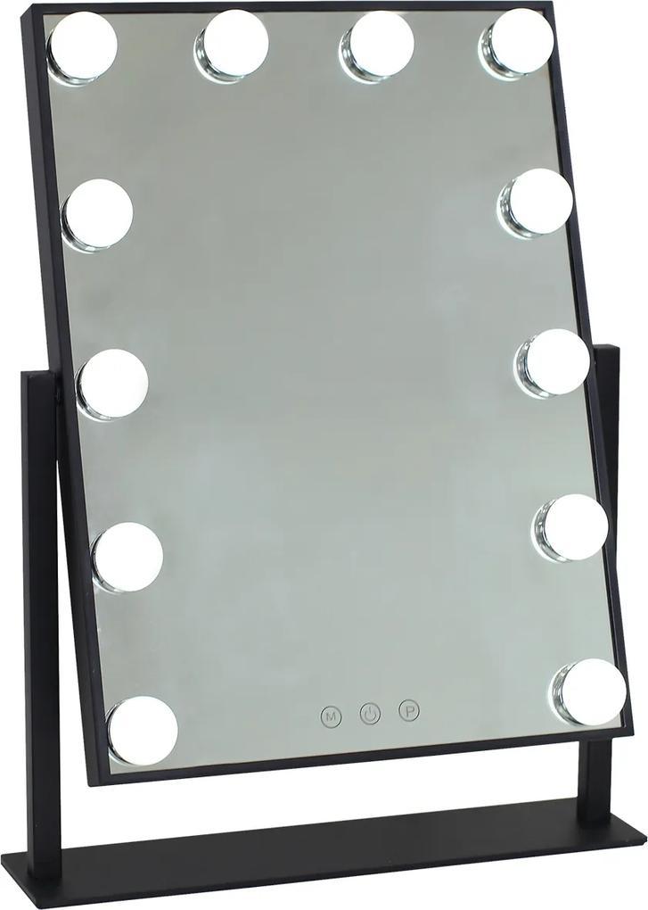 Oglindă sistem iluminare LED cu 3 culori, Senzor Tactil, Luminozitate Reglabilă, Negru, GLAM 12B