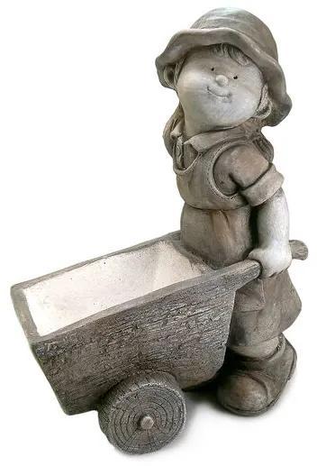 Decoratiune gradina ceramica fetita cu roaba in fata 34x20x47 cm