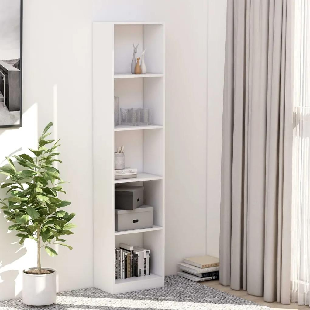 800846 vidaXL Bibliotecă cu 5 rafturi, alb, 40 x 24 x 175 cm, PAL
