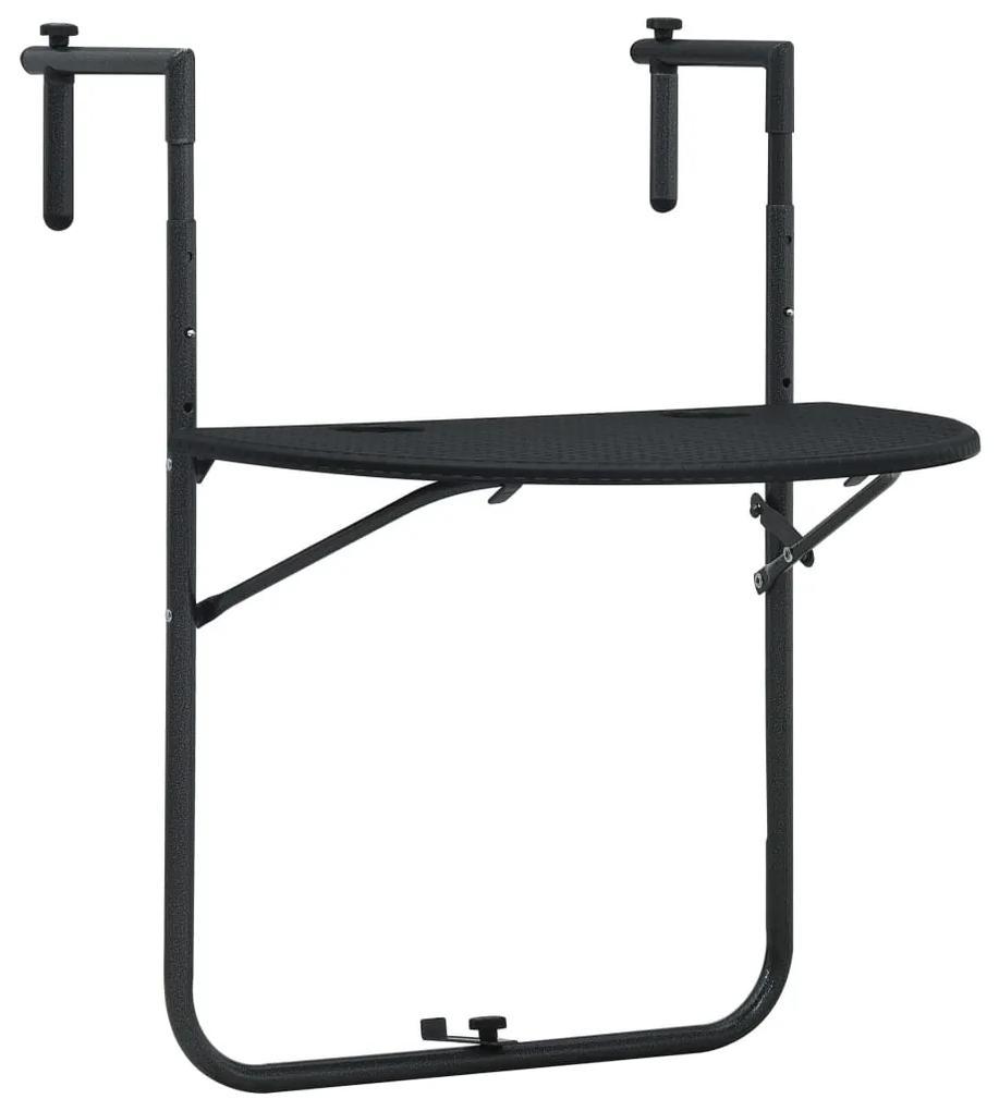 47894 vidaXL Masă balcon suspendată negru 60x64x83,5 cm plastic aspect ratan