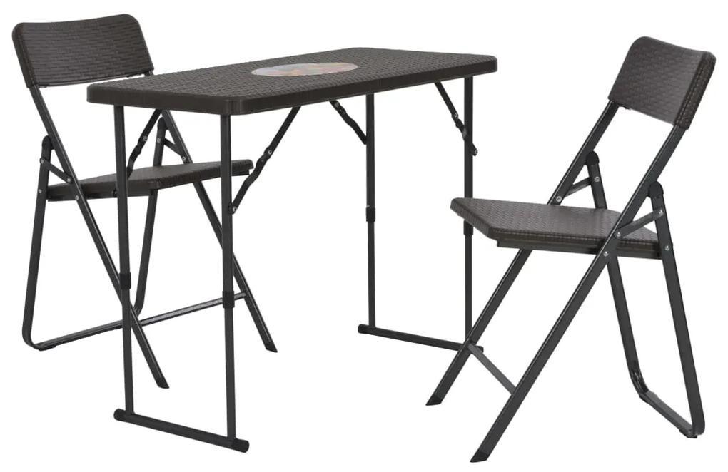 44556 vidaXL Set mobilier de bistro pliabil 3 piese maro HDPE aspect ratan