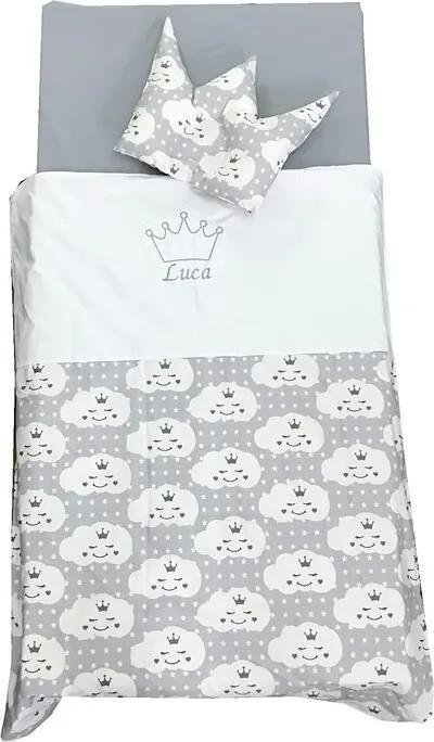 Deseda - Set Personalizat Paturica bebe cu Cearsaf si Pernuta pt pat 120x60 cm  Norisori gri