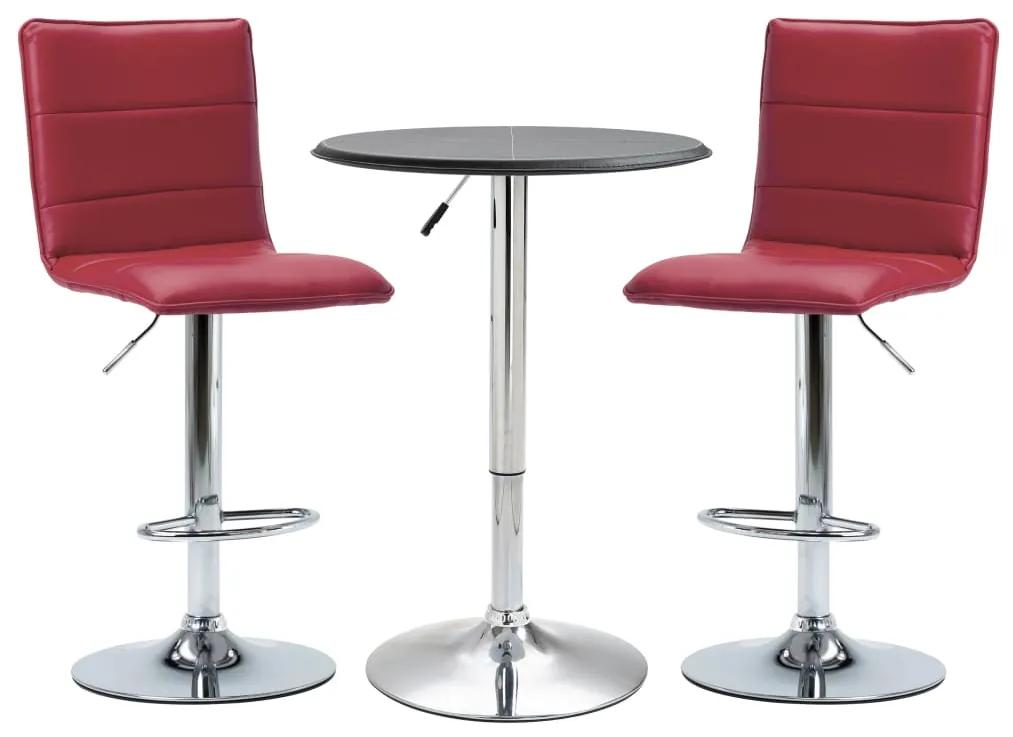 279625 vidaXL Set mobilier de bar, 3 piese, negru, piele ecologică