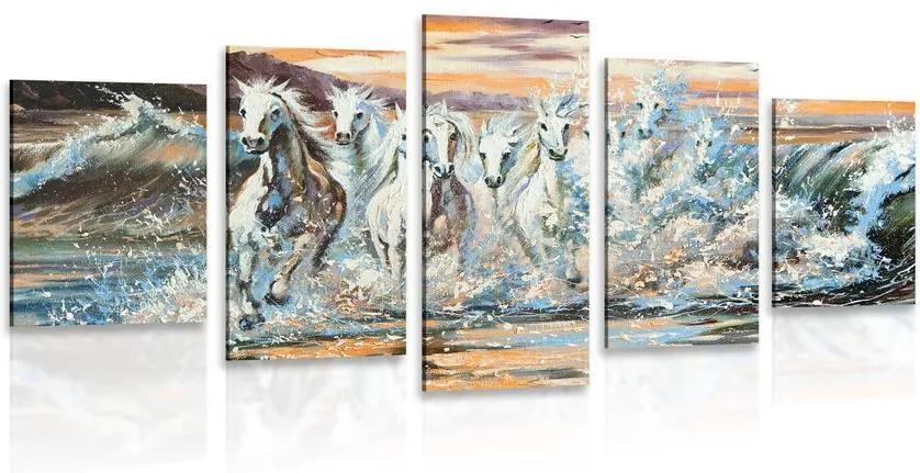 Tablou 5-piese cai format cu apă