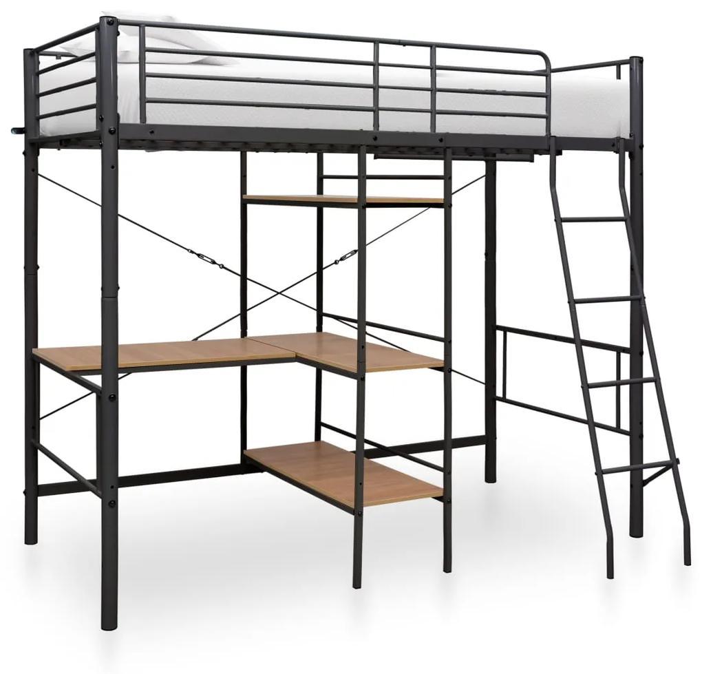 287908 vidaXL Cadru de pat supraetajat cu masă, gri, 90 x 200 cm, metal