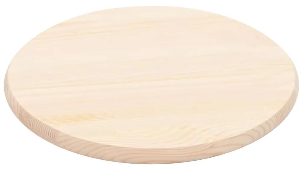 247192 vidaXL Blat de masă, natural, 25 mm, 50 cm, lemn de pin, rotund