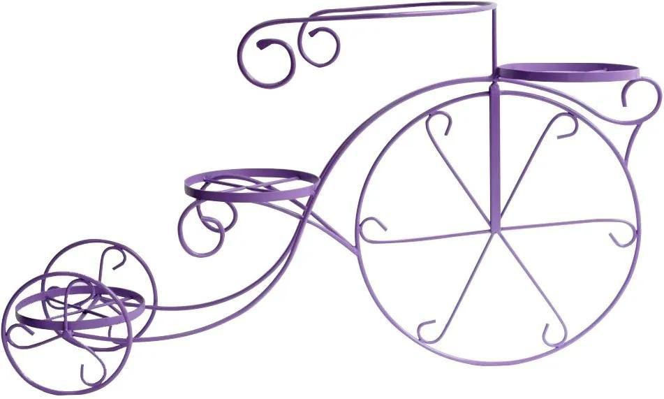 Suport flori bicicleta 3 ghivece mov