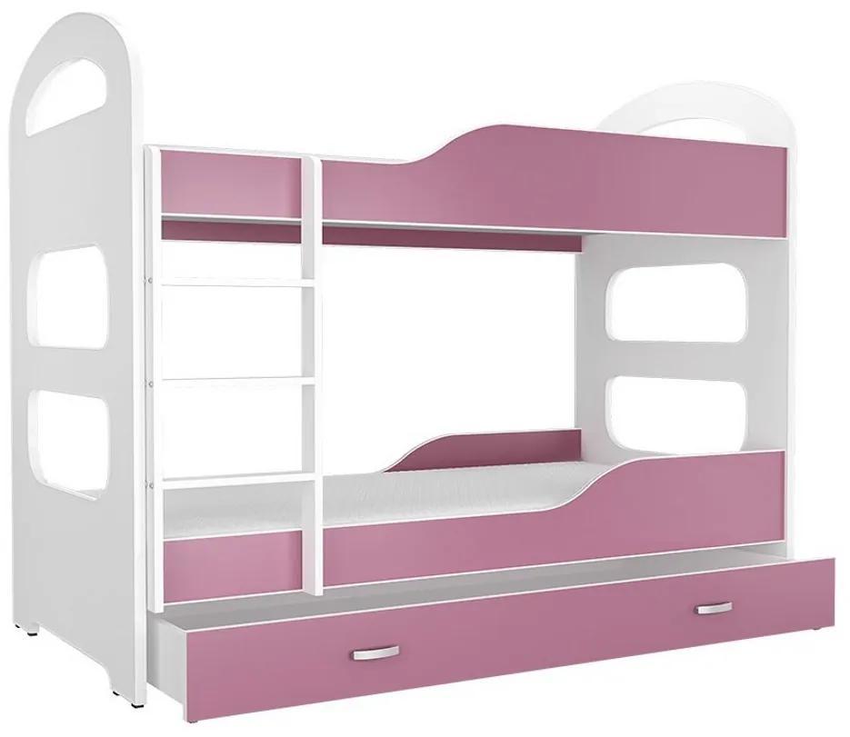 Expedo Pat supraetajat copii PATRIK 2 COLOR + saltea + somieră GRATIS, 180x80, alb/roz