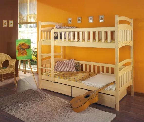 Pat supraetajat din lemn de pin, cu 2 sertare pentru copii Dominik, 200 x 90 cm