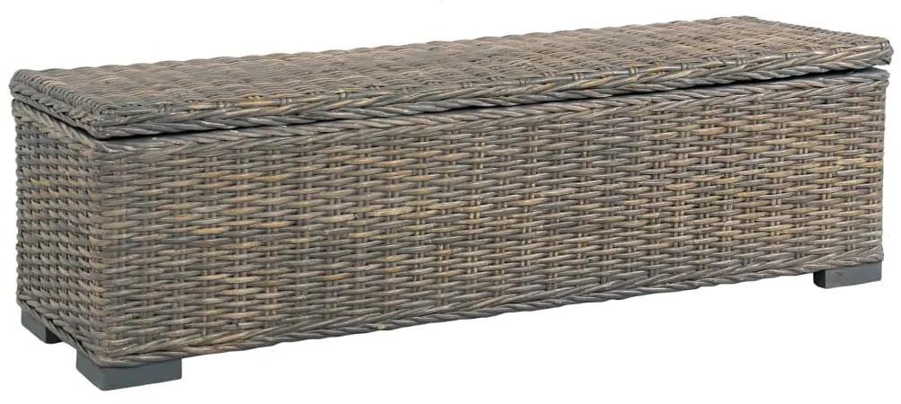 285797 vidaXL Ladă de depozitare, gri, 120 cm, ratan kubu și lemn de mango