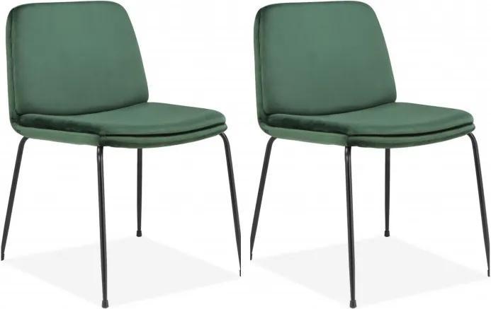 Set de 2 scaune Heine Svaneke, catifea, verde smarald, 51 x 59 x 78 cm