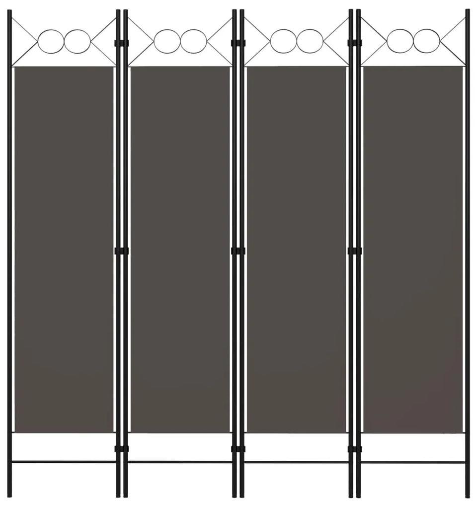 320704 vidaXL Paravan de cameră cu 4 panouri, antracit, 160x180 cm