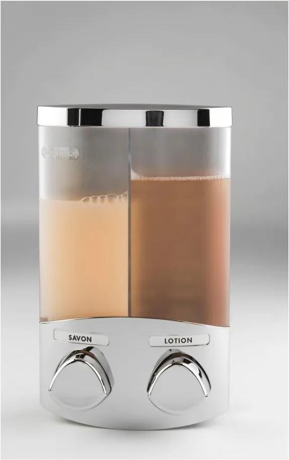 Dozator dublu săpun Compactor Uno, 2 x 310 ml, argintiu