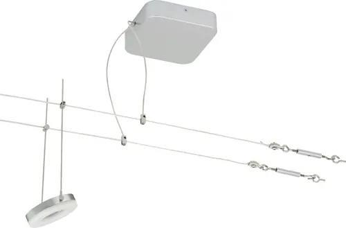 Set spoturi cu LED integrat pe cablu Flair 5x3,5W 1750 lumeni, lungime 2x5m, crom/alb