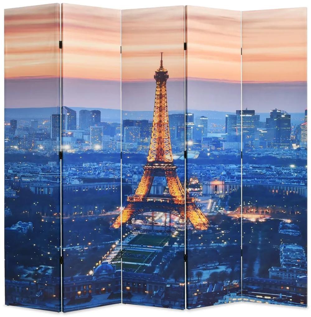 245871 vidaXL Paravan de cameră pliabil, 200 x 170 cm, Parisul noaptea