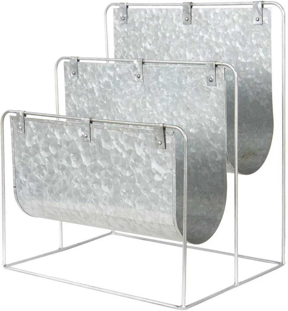 Suport reviste de podea din metal gri 33 cm x 26 cm x 38 h