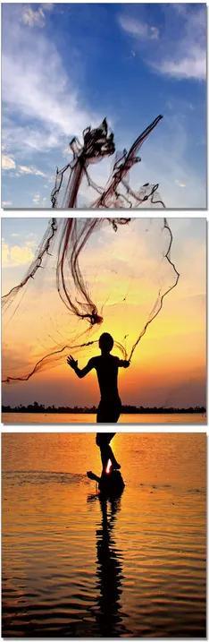 Fishing at Sunrise Tablou, (60 x 180 cm)