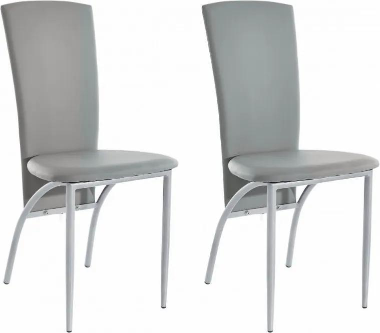 Set de 2 scaune tapitate Nicole - piele sintetica - gri/metal