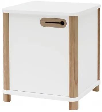 Cabinet din MDF si lemn de frasin, cu 1 usa Ashme White, l42xA42xH48 cm