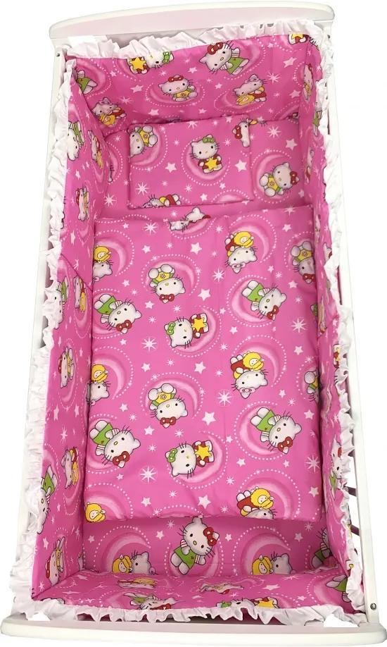Lenjerie patut cu 5 piese Hello Kitty roz 140x70 cm