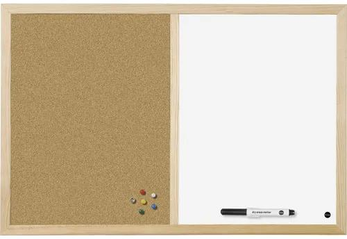 Tabla combi whiteboard & panou pluta 90x60 cm