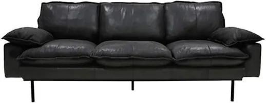 Sofa Retro din Piele cu Trei Locuri si Picioare Metalice Negre - Piele Negru Diametru ( 225 cm x 83 cm x 95 cm)