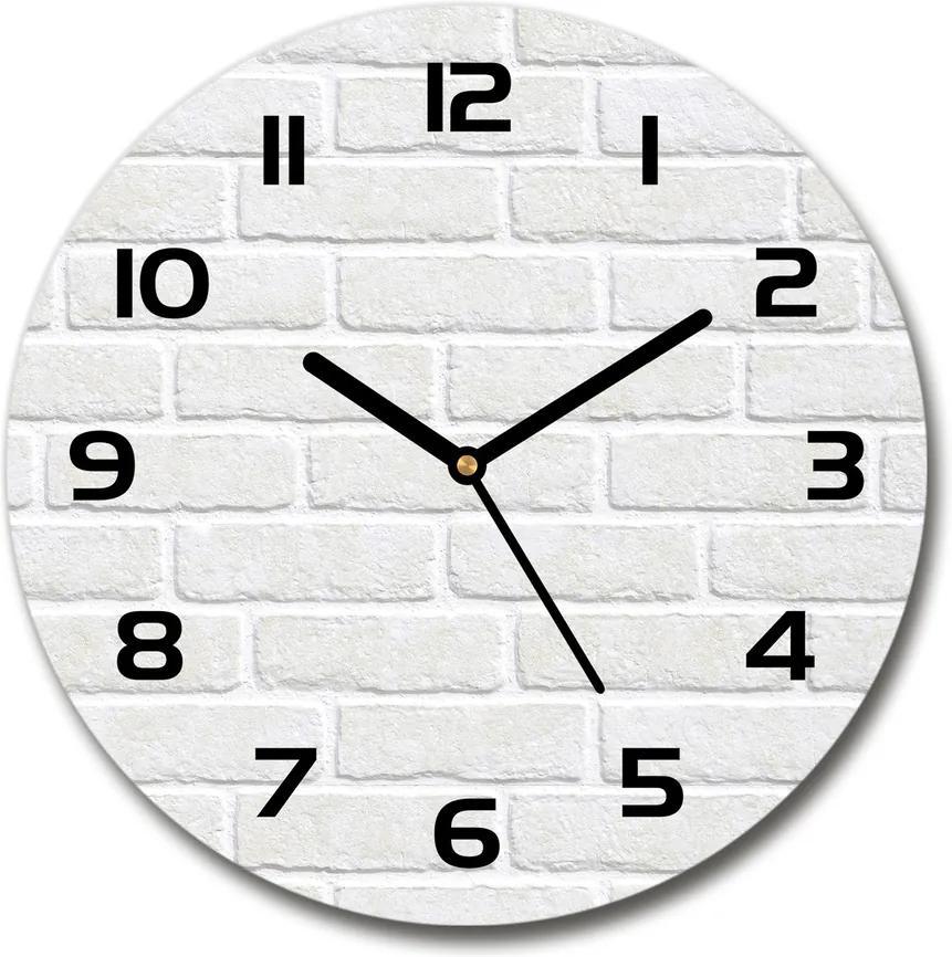 Ceas rotund de perete din sticlă Zid de cărămidă