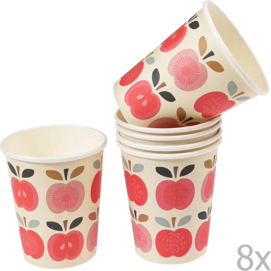 Set 8 pahare din carton Rex London Vintage Apple, 250 ml