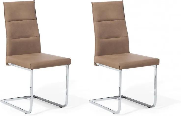 Set de 2 scaune Rockford, maro/aluminiu