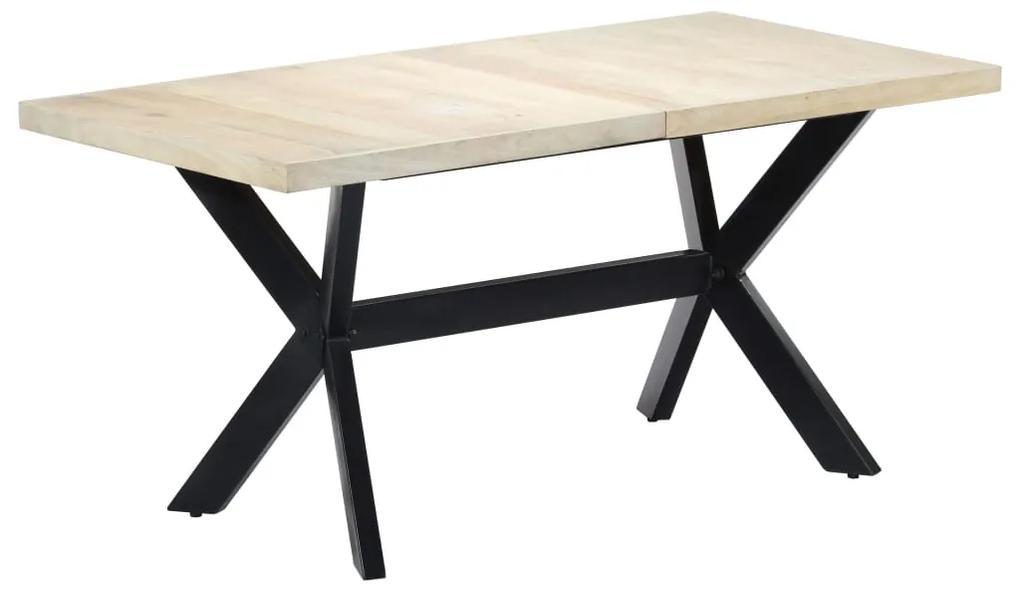 247434 vidaXL Masă de bucătărie, alb, 160x80x75 cm, lemn masiv de mango
