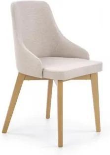 Scaun tapitat cu stofa, cu picioare din lemn de fag Toledo Light Beige / Honey Oak, l51xA55xH82 cm