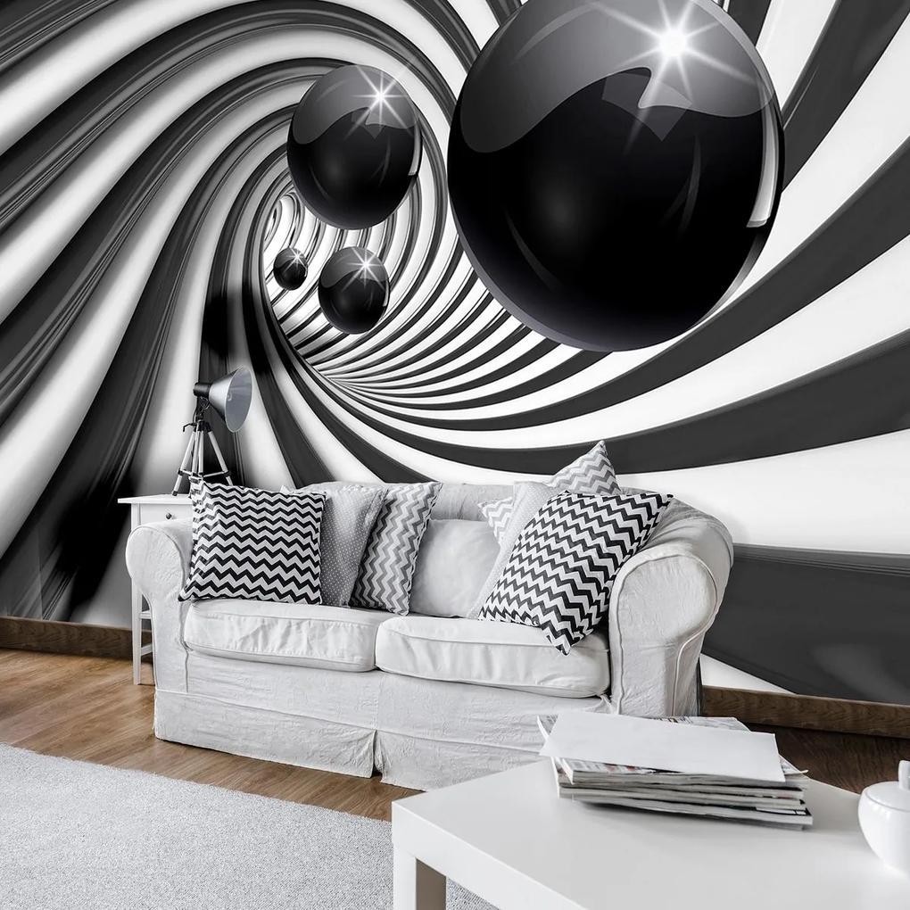 Fototapet - 3D tunel alb negru (152,5x104 cm), în 8 de alte dimensiuni noi