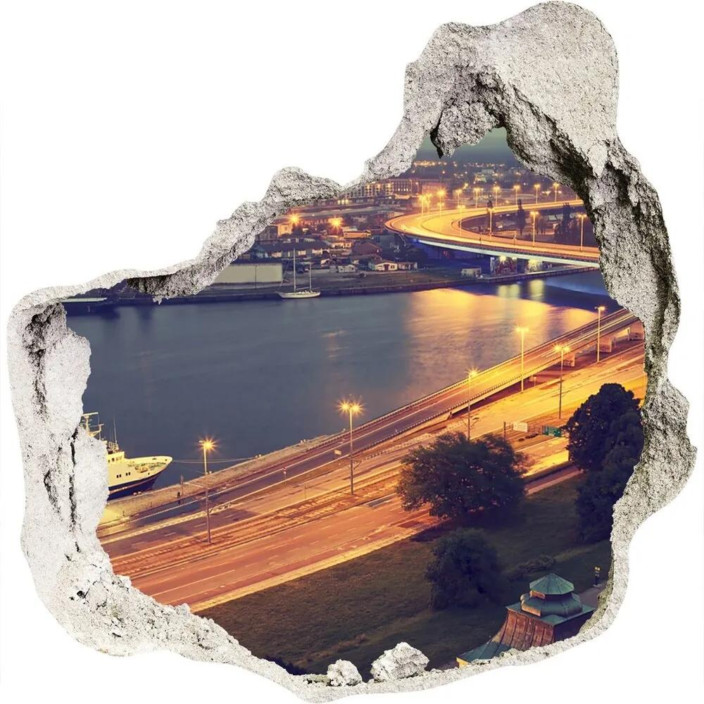 Fototapet un zid spart cu priveliște Szczecin Polonia