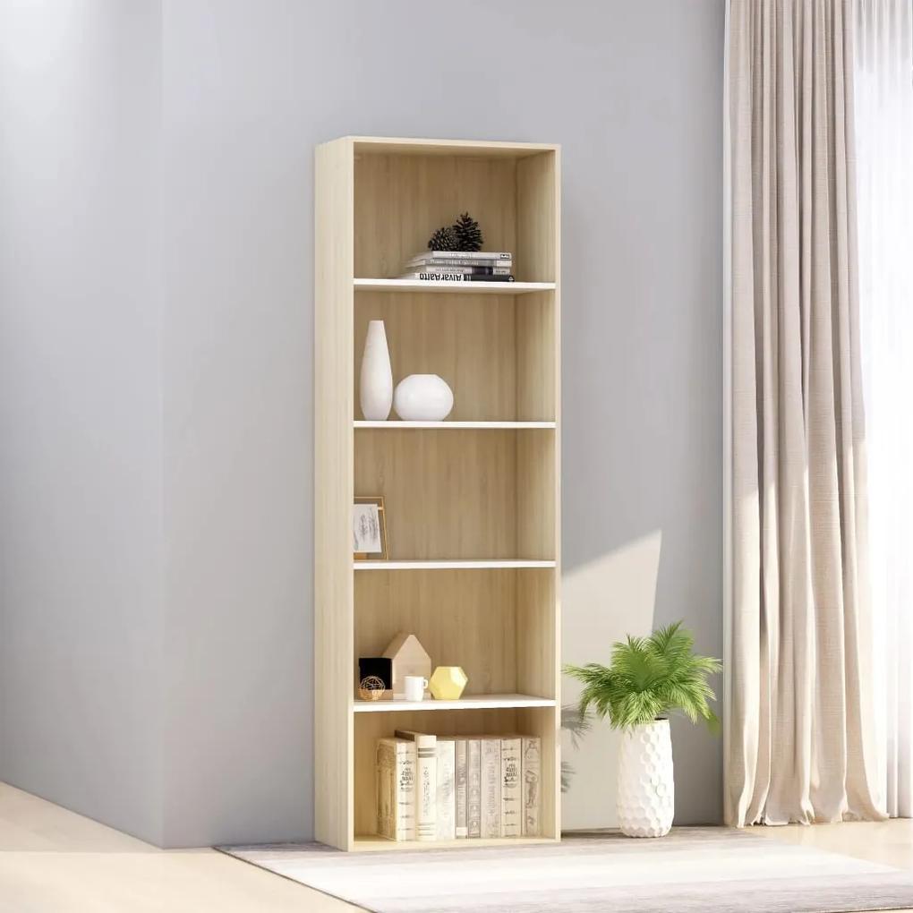 800995 vidaXL Bibliotecă cu 5 rafturi, alb & stejar Sonoma, 60x30x189 cm, PAL