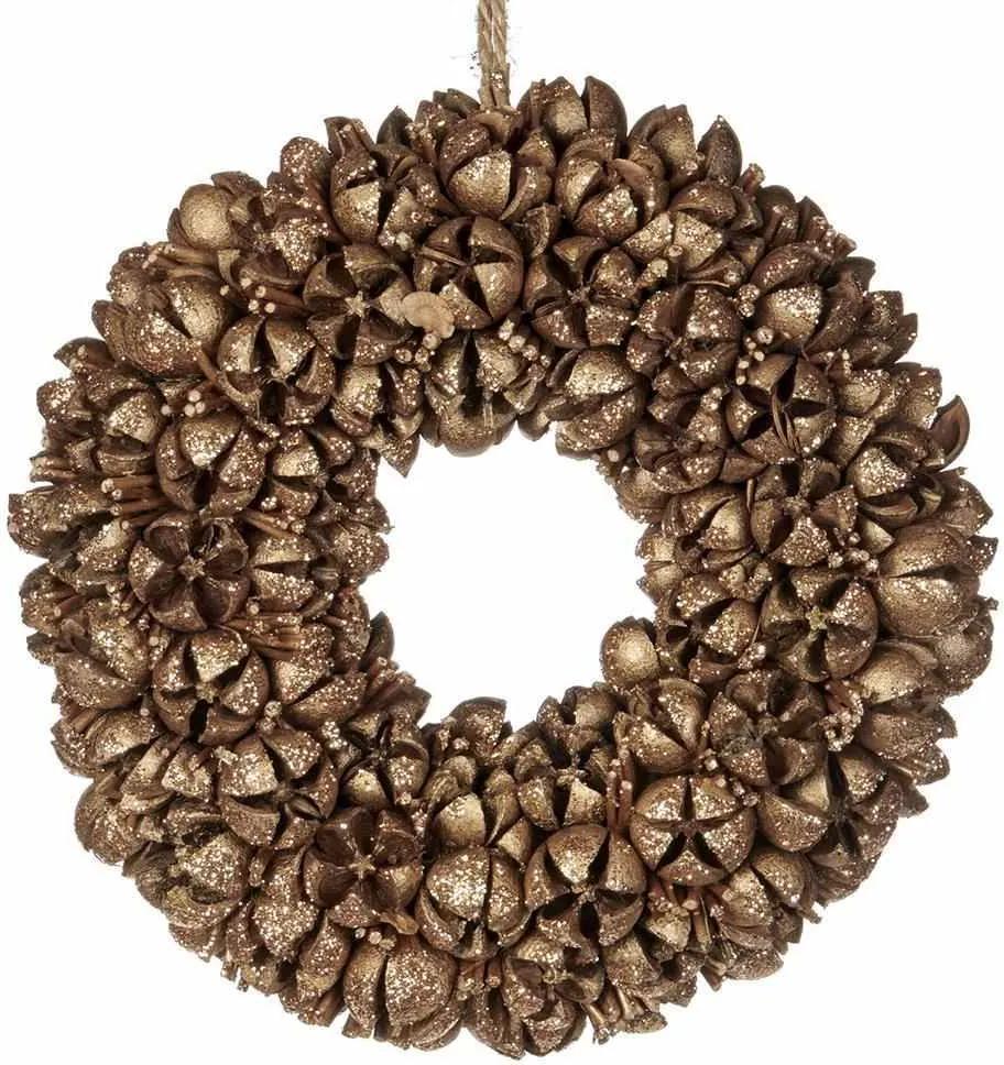 Coronita de Craciun Pod 23 cm - Maro/Auriu