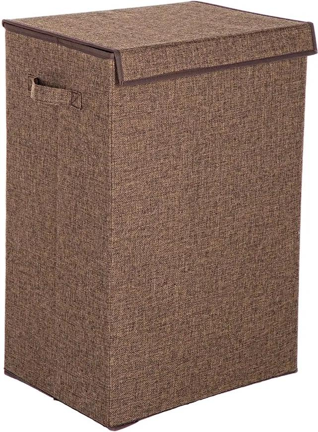 Cos rufe pliabil cu capac textil maro Laundry 40 cm x 30 cm x 60 h