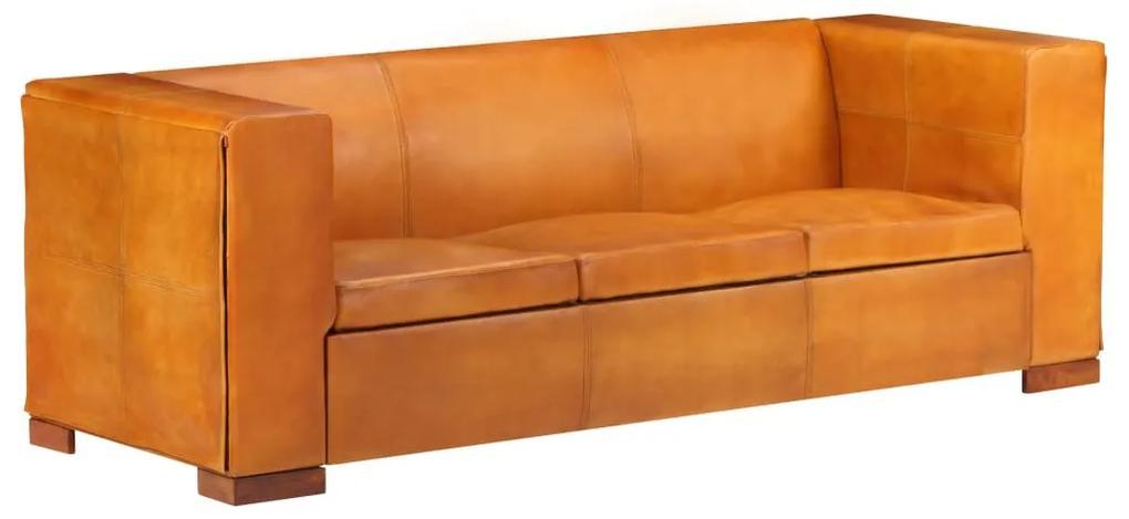 325115 vidaXL Canapea cu 3 locuri, arămiu, piele naturală