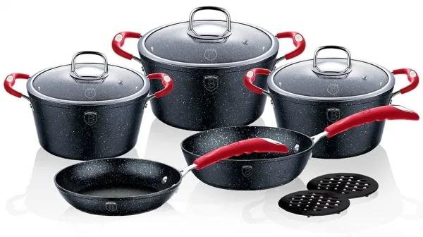 Set oale si tigai marmorate (10 piese) din aluminiu forjat Gray Stone Touch Line Black Edition Berlinger Haus BH 1166N