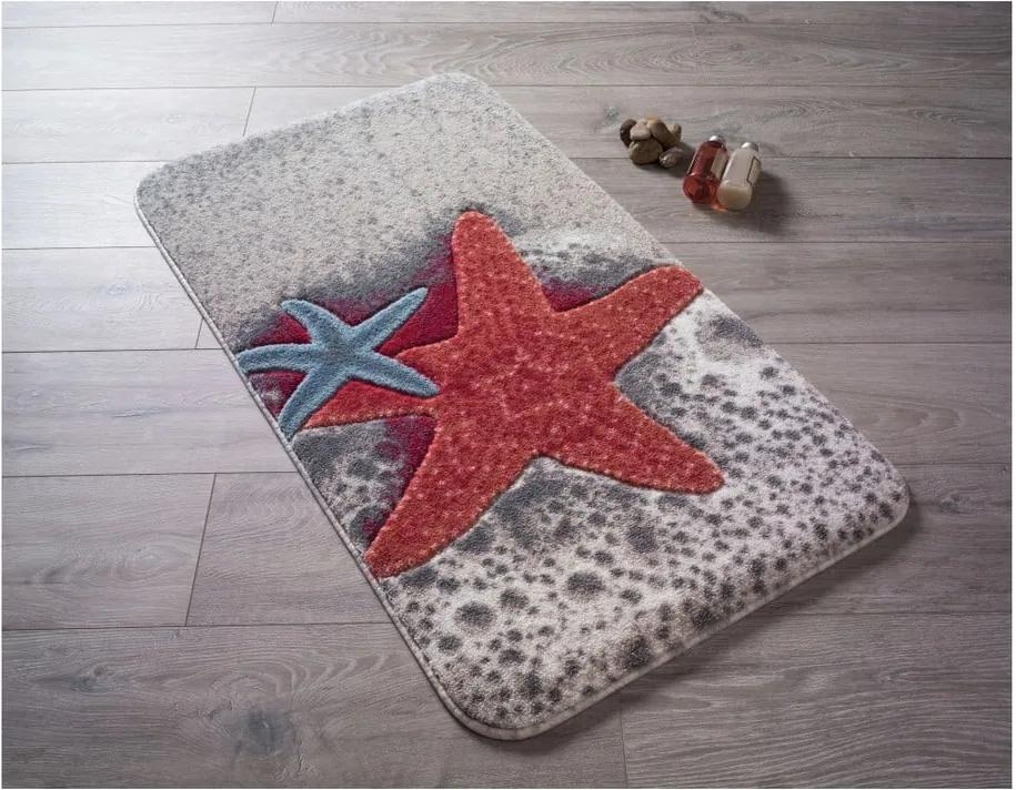 Covoraş de baie Confetti Bathmats Starfish, 80 x 140 cm, roşu
