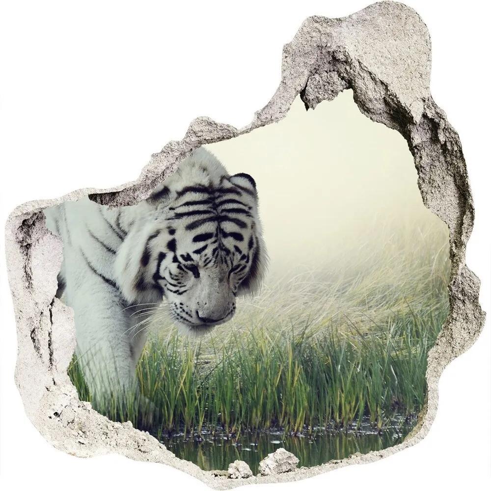 Autocolant gaură 3D Tigru alb