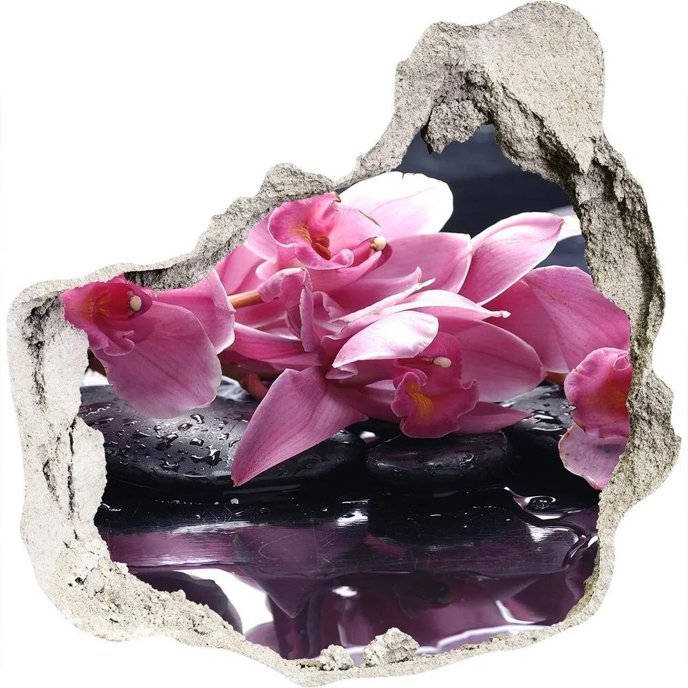Fototapet un zid spart cu priveliște Orhidee roz