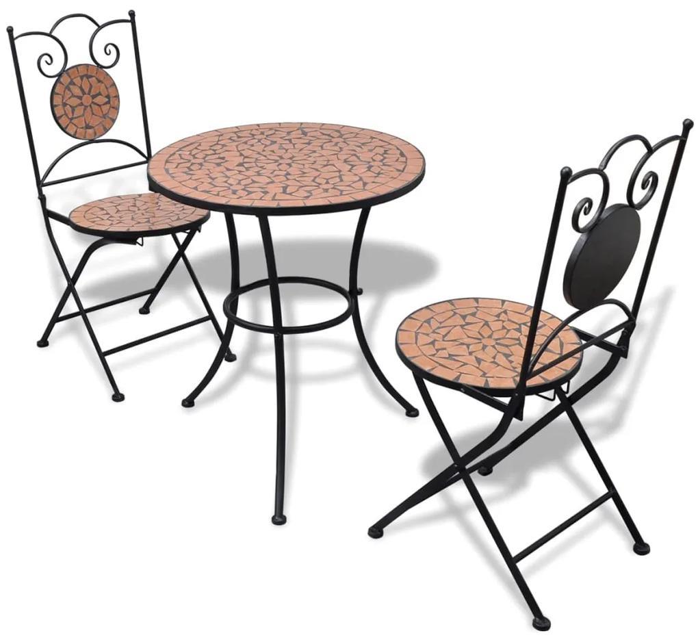 271770 vidaXL Set mobilier bistro, 3 piese, cărămiziu, plăci ceramice