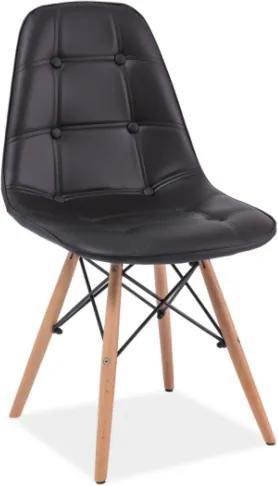 Scaun tapitat cu piele ecologica Axel black 45x40x84 cm