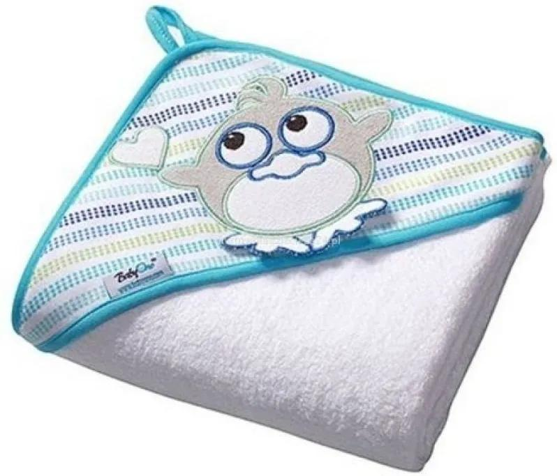 Prosop bebe cu gluga 76X76 cm Baby Ono Birdy alb, 100% bumbac