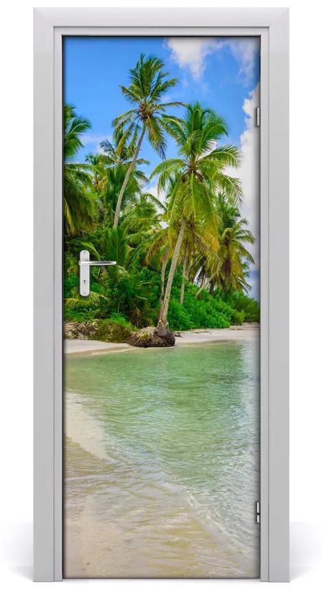 Autocolante pentru usi plaja tropicala