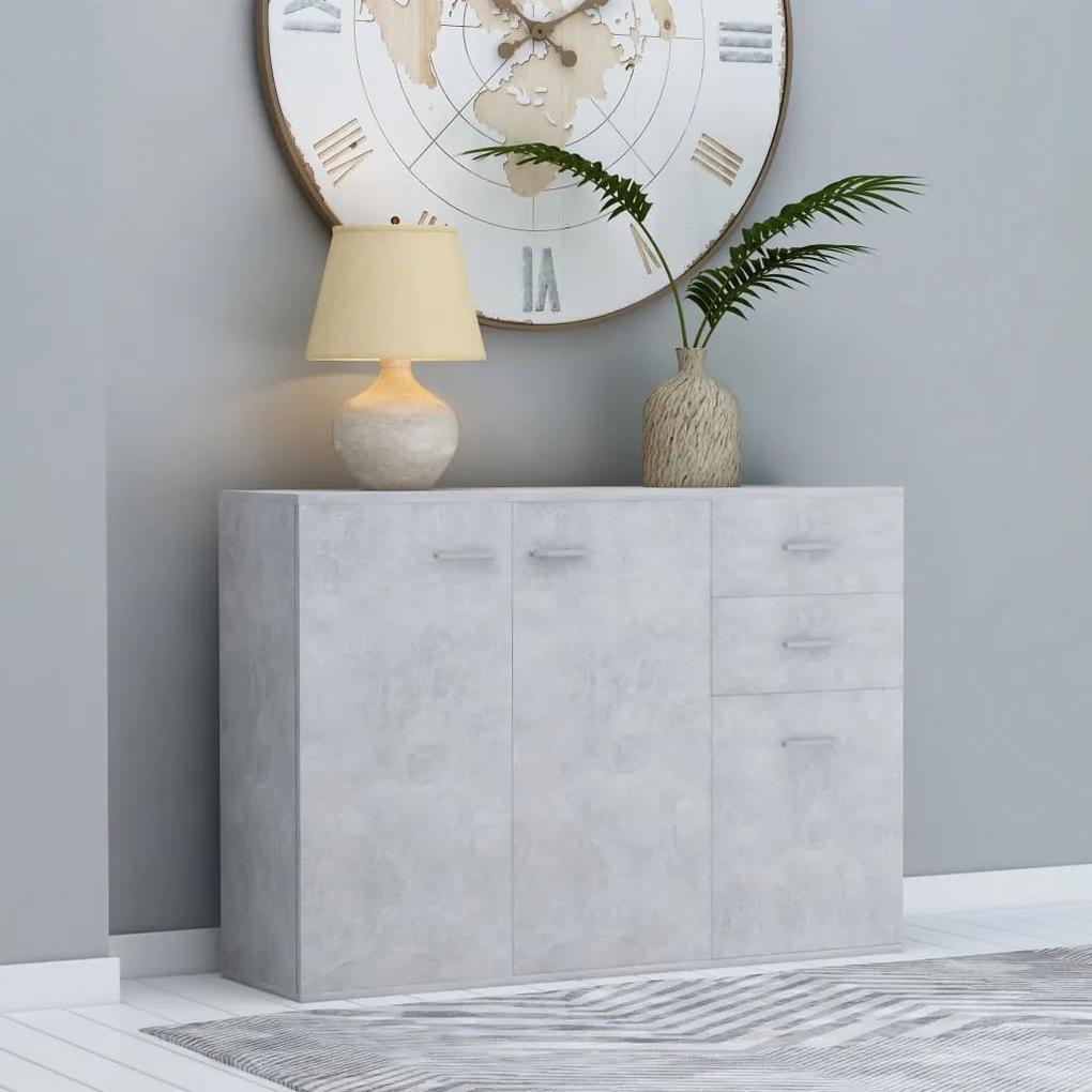 800697 vidaXL Servantă, gri beton, 105 x 30 x 75 cm, PAL